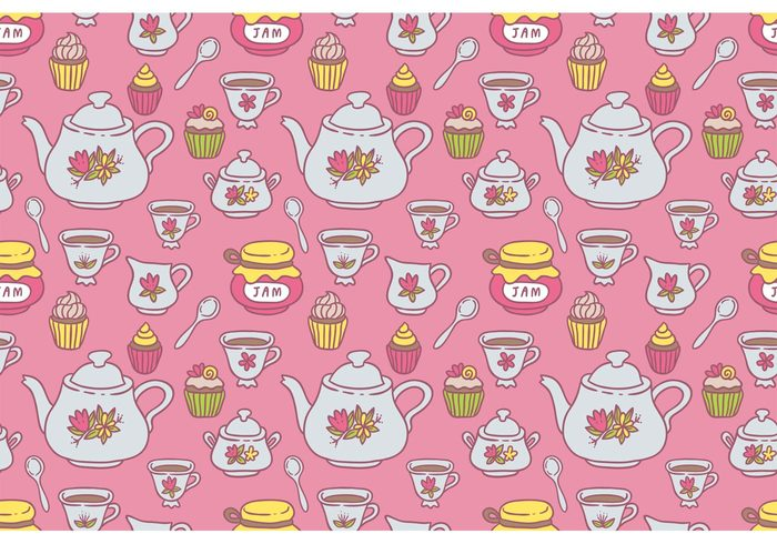 tea pattern tea party tea kettle pattern Tea kettle tea cup pattern tea cup tea sugar pot milk macaroon hot high tea pattern high tea hand drawn doodle glass drink cupcake cup cream cake