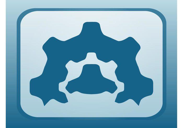 symbol silhouettes settings Mechanics mechanical logo icon Gearwheels gears Gear wheels Cogwheels