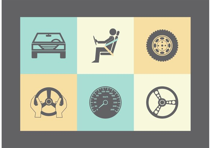 wheel view vehicle vector tire symbol Steering Simplicity silhouette sign shop shape set service seat belt replacement pictogram Part mechanic main isolated illustration icon graphic front element design dashboard clip art car black belt automotive automobile auto abstract