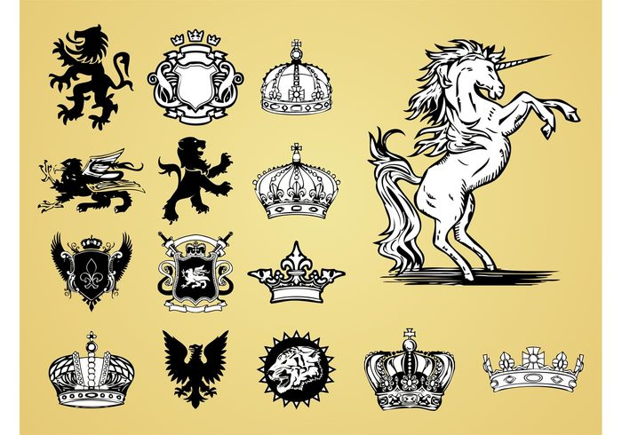unicorn symbols royal queen old lions lily king heraldry heraldic Griffons Griffins fleur de lis fairytales crowns antique animals