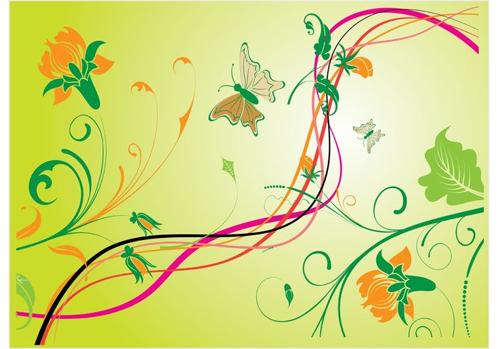 wallpaper trendy summer spring silhouette shape scroll retro plant nature natural leaf green flower floral elegance curl butterfly beautiful background abstract