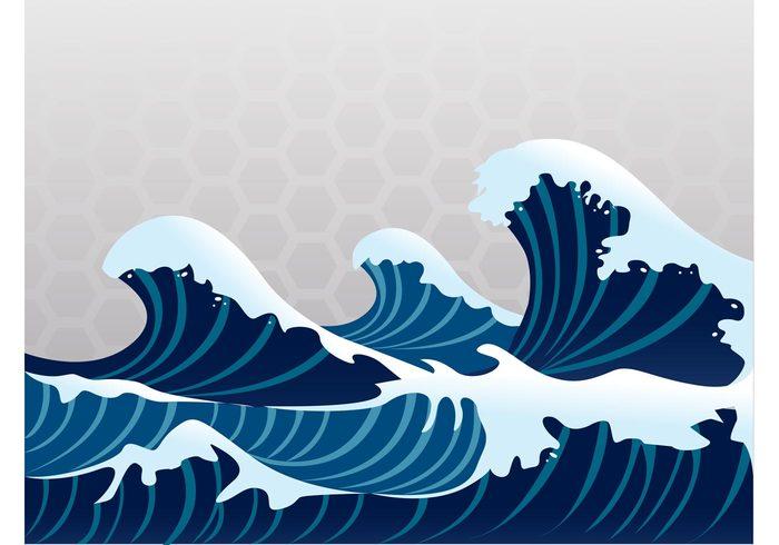 神奈川沖浪裏 wet waves water wallpaper Ukiyo-e tsunami seaside ocean nature Japanese art japan Hokusai foam cartoon background abstract