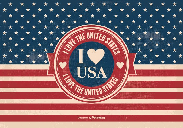you Vintage poster vintage USA united staes typography typographic type star signs romance retro red white blue poster party love letters i love the usa i love the us i love america heart headline frame font flag deco couple celebration card calligraphy beautiful banner background american flag america