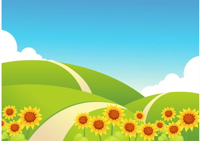 tranquility sunflowers sky rolling hills plants non urban scene Nobody no people nature mountain hill happy growth grass golden glow Fragility flower field fantasy exterior environment creative countryside colorful clouds cheerful blue sky background artwork art