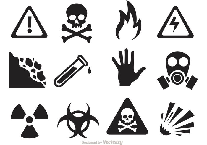 waves warning Violence toxic temperature Slip skull silhouette shock safety rocks radioactive radiation protection pollution Poisonous poison sign poison mask hazard glasses gas fire explosion electricity Dangerous danger sign danger Chemical caution bio