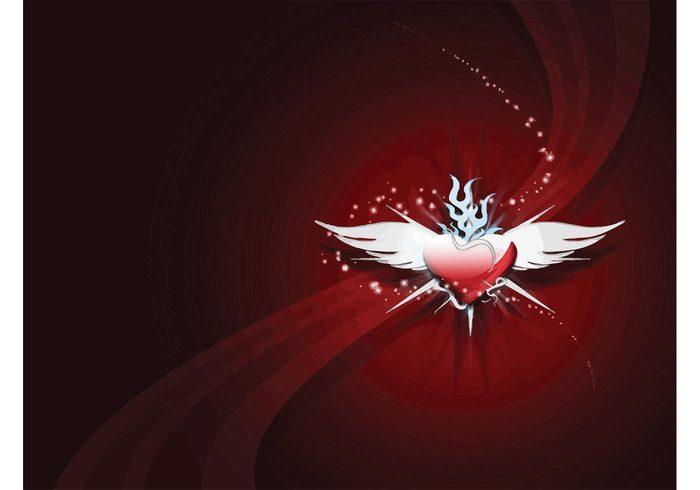 vector valentine symbol swoosh sign shape ribbon red poster modern love icon heart Glory decorative decoration color celebration card 3d