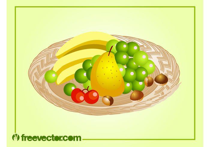 vitamins present Platter pear nuts Healthy Hazelnuts grapes gift fruits fruit Diet cherries basket bananas