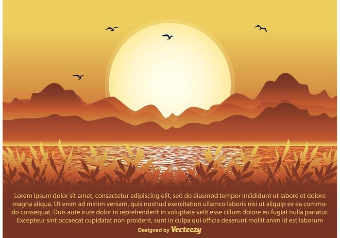 yellow weather water scene tree tranquil sunlight space sky shape season scene rural plant outdoors orange nature scene nature mountains meadow light landscape scence landscape land horizontal horizon hill grass field environment day cute bright beauty background autumn
