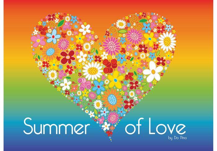 summer spring sixties seventies rainbow nature love joy heart Harmony happy fun fresh flower power daisy Composition bouquet