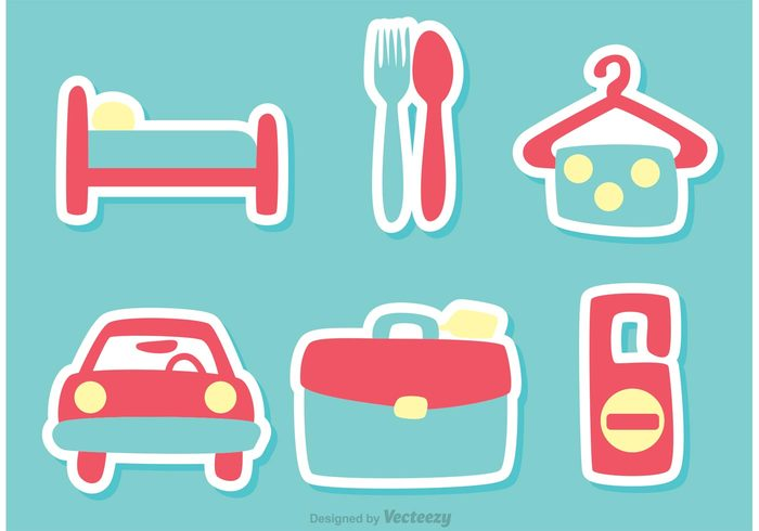 vacatiion travel towel suitcase spoon Silent rental car Privacy pink motel  luggage hotel hanger fork food
