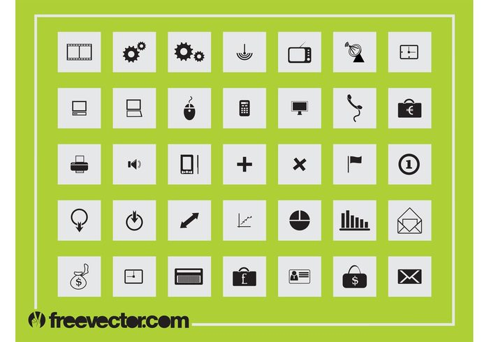 work technology tech square money icons icon graphs financial devices computers charts buttons button business