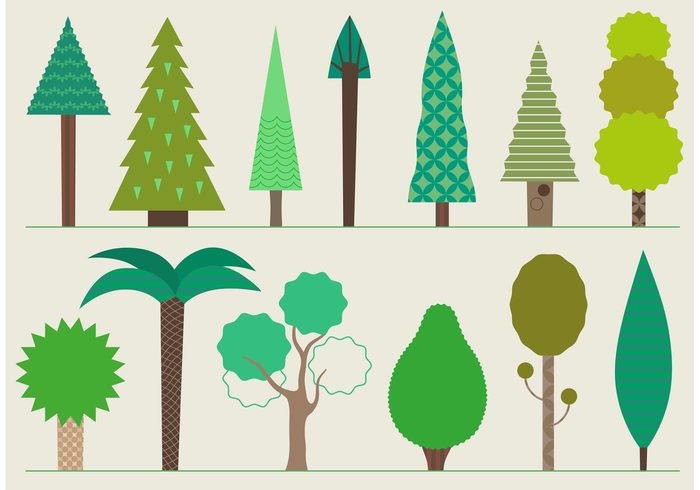 trees tree icon tree stylized tree stylized pine park palm nature icon nature icon green forest flat fir evergreen cypress abstract tree