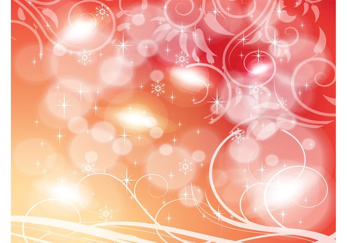 vines vector background stars sparkle snow flakes snow shine shapes scrolls red orange gradient floral filigree circle