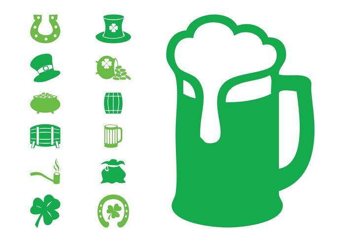 st patrick's day pots pot of gold pipe mug money Irish Ireland holiday hats gold clover celebration beer barrels