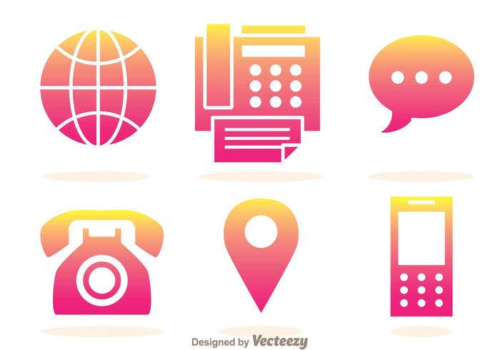 telephone shape print phone message maps location handphone Gradation fax icons fax icon fax chat