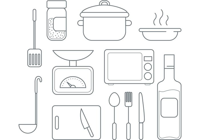 vector icons utencils spoon seasoning pot plate microwave line icons knife kitchen icons kitchen icons fork cutlery cooking icons cooking cook chopping bottle