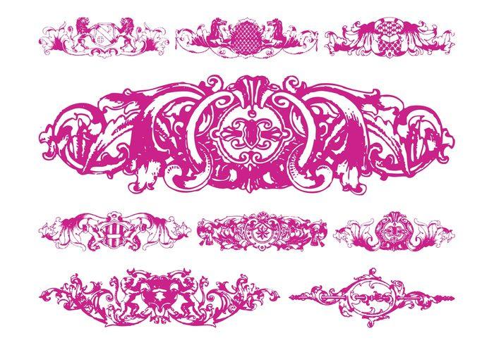swirls shields scrolls plants lions horses heraldic flowers floral antique animals