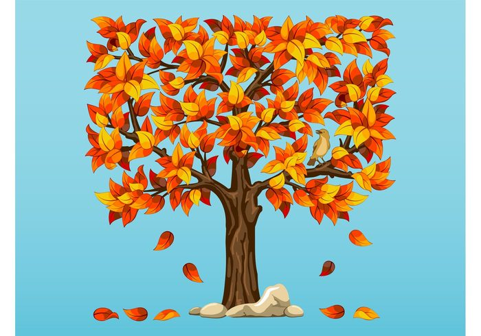 trunk stones seasons seasonal plant nature natural leaves falling leaves Fall bird bark animal