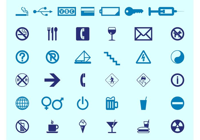 symbols symbol stairs signs sign road signs Radioactivity Prohibition signs phone mail icons icon food credit card coffee cigarette battery arrow