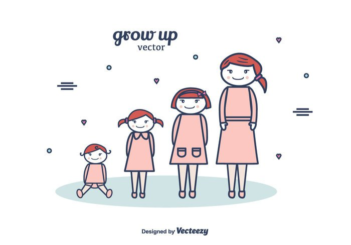 young women vector together standing smiling senior people mother mom Middle love life kid junior illustration happy growth growing grow up grow girl generation free female family elderly daughter cute concept child cartoon Age Adult