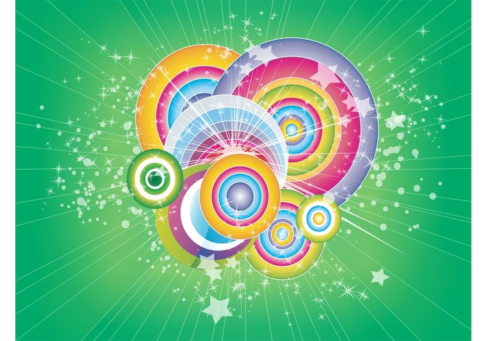 vector stars shapes retro rainbow party joy festive Cool backgrounds colorful circle celebrate 70's