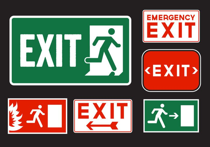 white Way warning symbol signs sign security safety Safe run rescue red label isolated information illustration icon help green fire emergency fire exit sign exit evacuation Escape Emergency Signs emergency sign emergency exit signs emergency exit sign emergency doorway door direction danger building background arrow