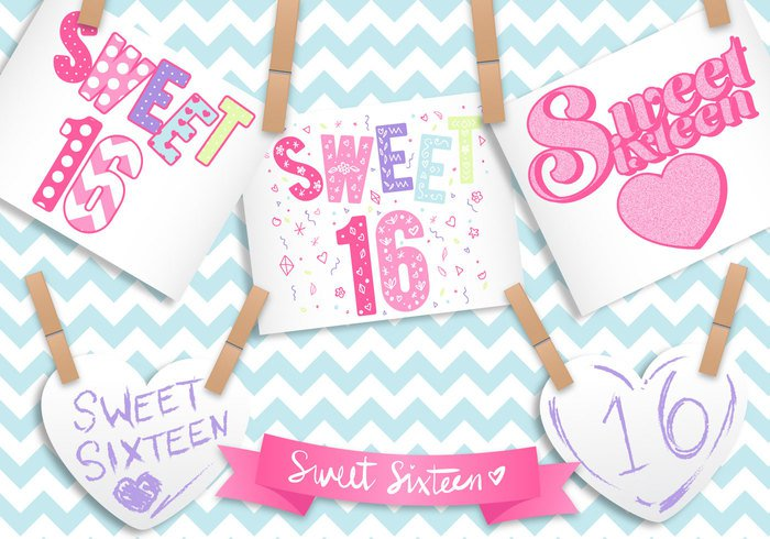 vector typography text template Teen symbol sweet 16 sweet sixteen sign retro rainbow pink pattern pastels pastel party message label isolated invitation illustration happy greeting girly flower event dimensional design decoration cute custom text chevrons chevron cheerful celebration celebrating celebrate cartoon card bunting birthday banner background art Age 16th 16