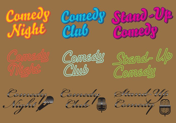 wall vector up stand spotlight Signage sign show retro poster performance night neon live lights leisure Joke illuminated humorous humor funny fun event entertainment Conceptual concept comical comic comedy club logo comedy club comedy comedian club black background