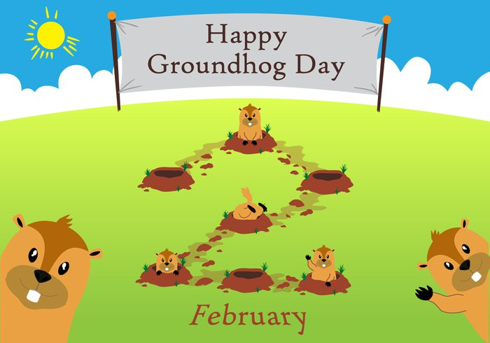 wildlife wild vector underground springtime spring seasons poster marmot mammal isolated illustrations illustration humor holiday hole hog groundhog day groundhog greeting funny fun festival february cute clouds cheerful character celebration cartoon brown Beaver background art animal
