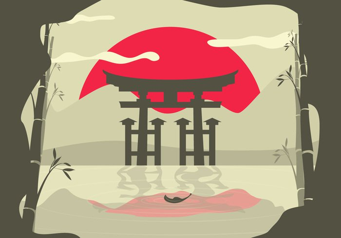 world water vector vacation trip travel traditional tourist tourism torii Tokyo temple symbol sun sumie sumi style silhouette shinto religious religion oriental nature mountain monument mirroring location leaf landscape Journey Japanese japan isolated international illustration icon graphic gates gate fan famous element dusk door design decoration dawn culture concept colorful cloud calm building beautiful bamboo background Asian asia art architecture abstract