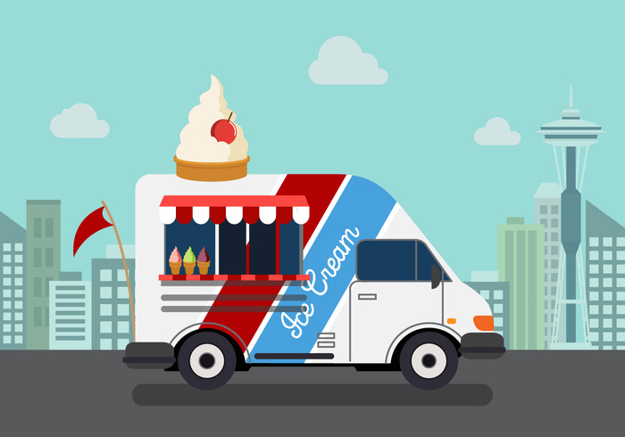 vehicle urban truck tourist street space needle seattle space needle vector seattle road people meat lunch icecream hours hot foodtruck food festival event evening downtown Cuisine crowd commerce city buy business
