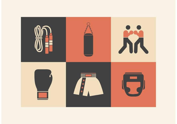 vintage vector uniform symbol sportsman sport sparring simple side set punching professional pictogram pants old time boxing mask man Jump rope illustration icon glove game flat fighter Fight design cloths champion boxing boxer box belt bag