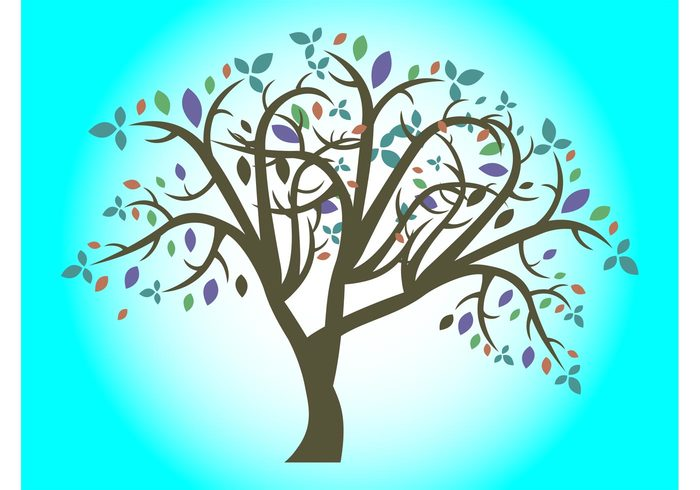 vector tree twigs Tree Vector sticker plant nature magical leaves ecology colors colorful branches