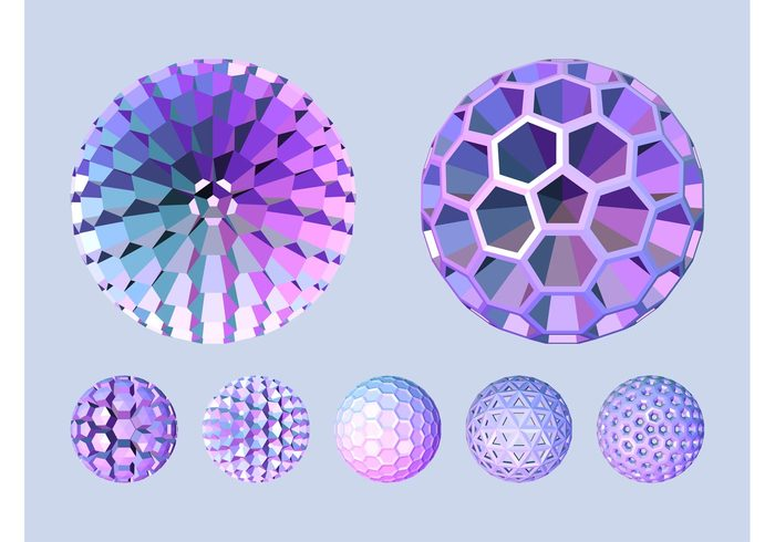 triangles spheres round logos icons hexagons Geometry geometric shapes circles balls 3d