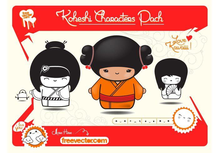 Smile mascots kokeshi kawaii Japanese japan happy girls dolls cute characters Cartoons Anime