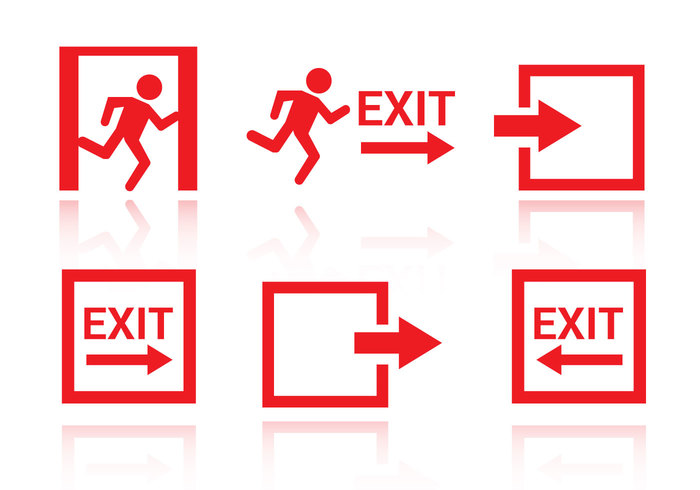 Way symbol sign run red people moving man Leaving isolated icon hanging follow floor exit evacuation Escape entry entrance emergency exit icon emergency doorway door building away arrow app