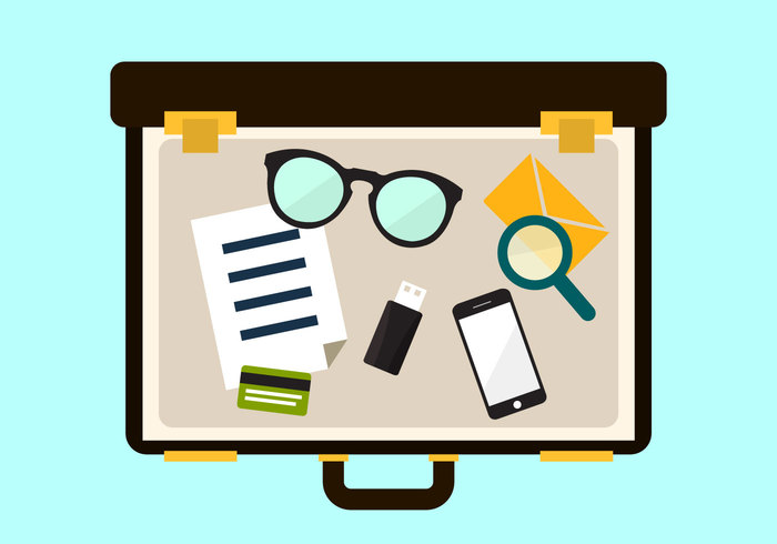 travel top technology table suitcase smartphone report phone open suitcases open suitcase open office luggage holiday glasses flat design digital concept business briefcase baggage