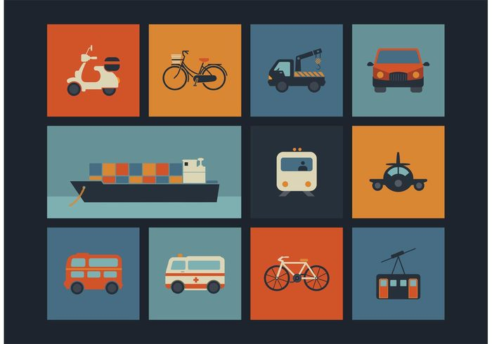 vintage vehicle vector transportation symbol simple set sea retro icons retro plane motorcycle illustration icon design container ship collection car cab bus bike bicycle Ambulance airplane