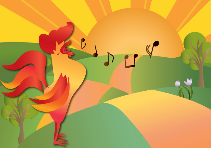 yellow weather wake vane tulip tree time text Song sky Sing rooster crow rooster red punctual prompt plant pink Outdoor nature natural musical notes morning message meadow male illustration hill green grass garden fun fresh forecast flower field editable early bird gets the worm early bird early drawing crow countryside country cock cloud cheerful breakfast bird background animal air active