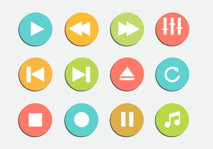 video vector template symbol speaker sound sign shiny shape replay record player pause music multimedia modern media internet interface illustration icon graphic forward flat equalizer element digital computer circle button arrow app abstract