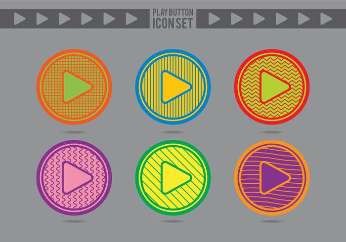 web vector shape shadow set player play button icon play pattern outline modern media internet icon colorful circle button