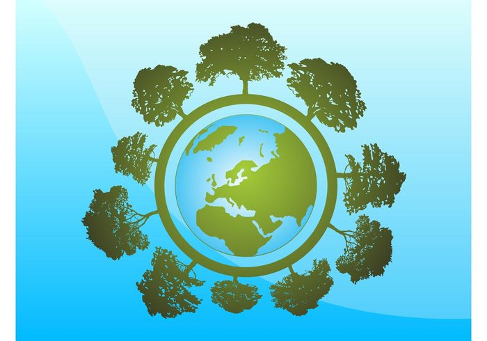 trees sphere silhouettes plants planet organic nature natural logo template icon globe ecology earth continents