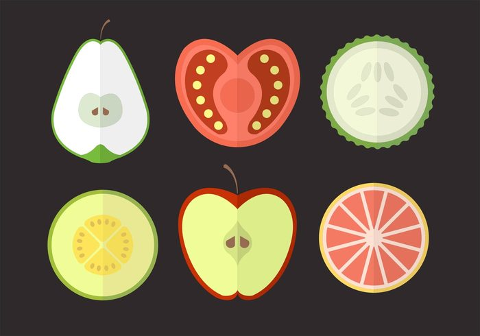 vegetables vegetable tomato set pear orange melon isolated icons Half fruits fruit fresh food flat design cut in half cut Cucumber cooking collection apple