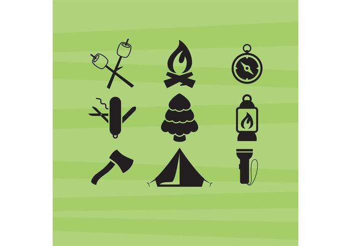 wooden trip tree travel tent stick Recreation picnic Outdoor marshmallow Log leisure lamp knife flame firewood fire equipment cooking compass camping icon camping campfire camp food camp axe Adventure
