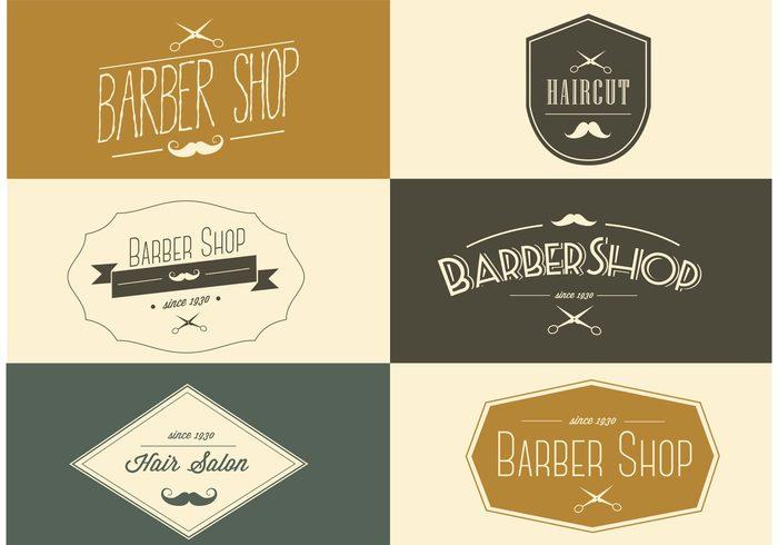 vintage sign shop scissors salon logo salon business card salon retro old mustache Haircut hair salon hair Gentleman Barbershop barber shop logo barber shop business card barber shop barber