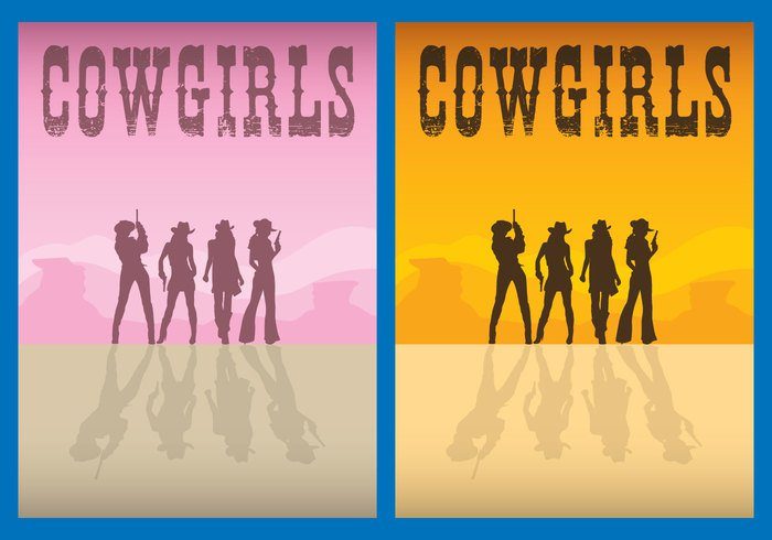 women wild western west vertical sunset sunrise summer silhouette sheriff shadows rodeo ranch poster pink person people outback australia old western town Lasso lady hat gun female cowgirls cowgirl silhouette cowboy country background american Adult