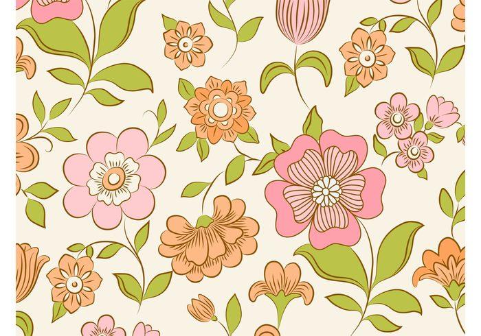 wallpaper vintage vector background Stems seamless plants petals pastel colors leaves fresh flowers floral blossom bloom