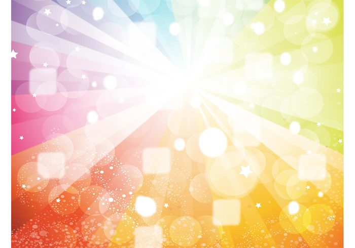 streak stars star burst shine rays rainbow radiant light glow dots colorful circle celebrate bubbles background vector