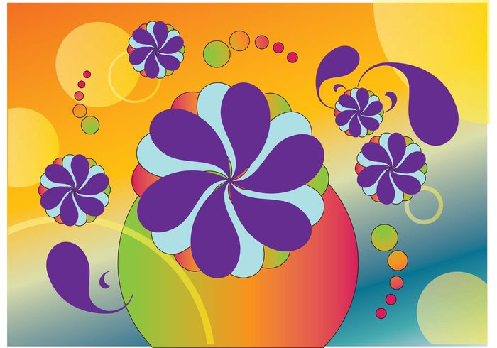 vintage vector background sixties scrolls retro party flyer flowers flower power colors colorful circles Austin powers 60's