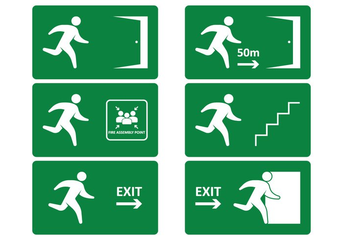 white warning vector upstairs up symbol signboard signal sign set security save safety Safe run right rescue placard pictogram notice Move isolated illustration icon help hazard green fireexit firealarm fire exit evacuation Escape emergency exit sign emergency door direction danger collection caution board Beware banner background arrow alert alarm